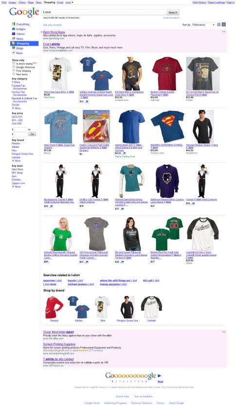 Compras con Google: Camisetas