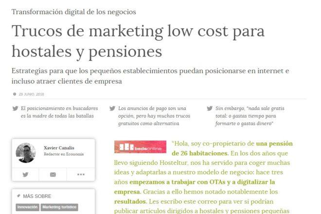 Trucos de marketing low cost para hostales y pensiones Estrategias para que los pequeños establecimientos puedan posicionarse en internet e incluso atraer clientes de empresa