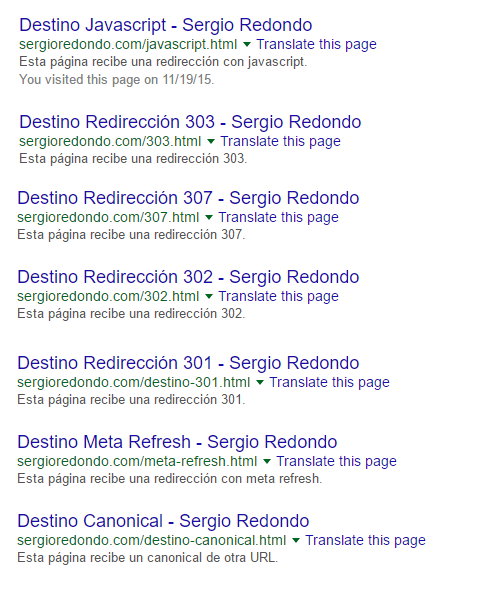 Redirecciones SEO, URLs Originales