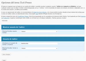 Panel de control de Twit Fresco